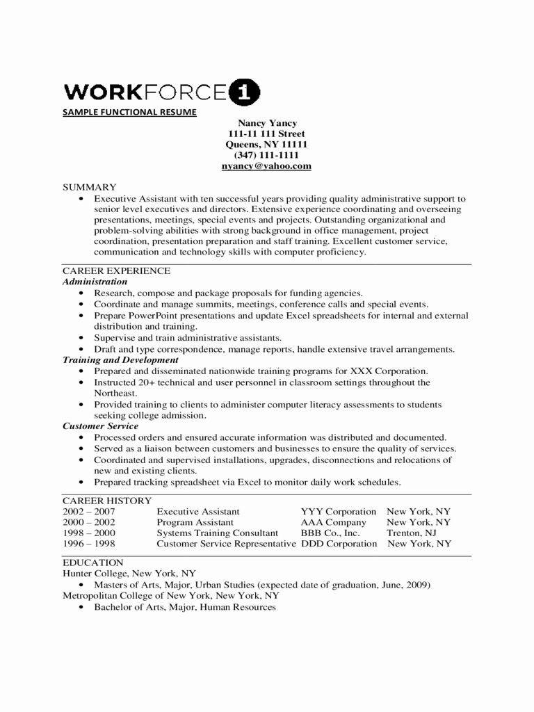 Functional Resume Template Free Unique 2019 Functional Resume Template Fillable Printable Pdf
