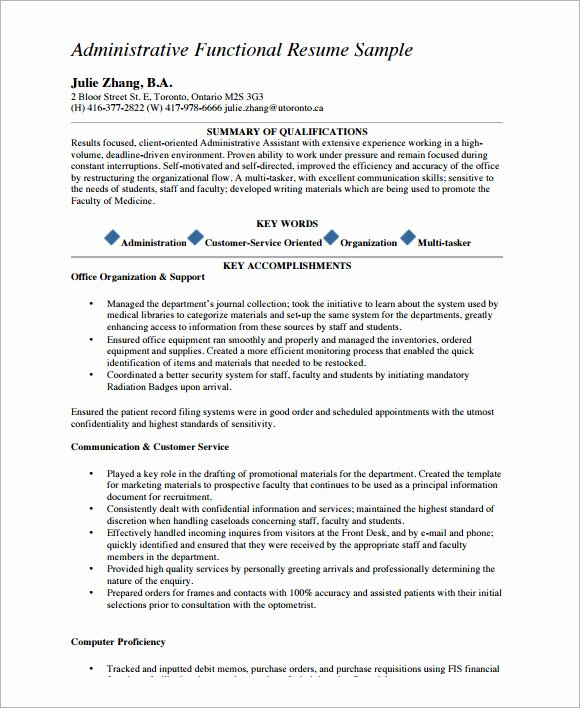 Functional Resume Template Word Fresh Sample Functional Cv 9 Documents In Pdf Word