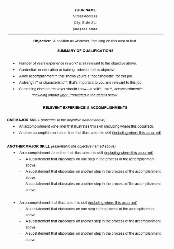 Functional Resume Template Word Lovely Free Functional Resume Template
