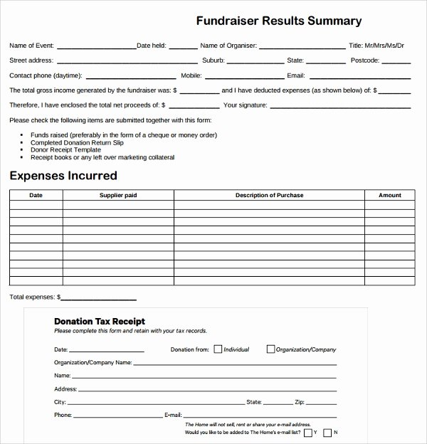 Fundraiser form Template Free Best Of Sample Fundraiser Receipt Template 9 Free Documents In