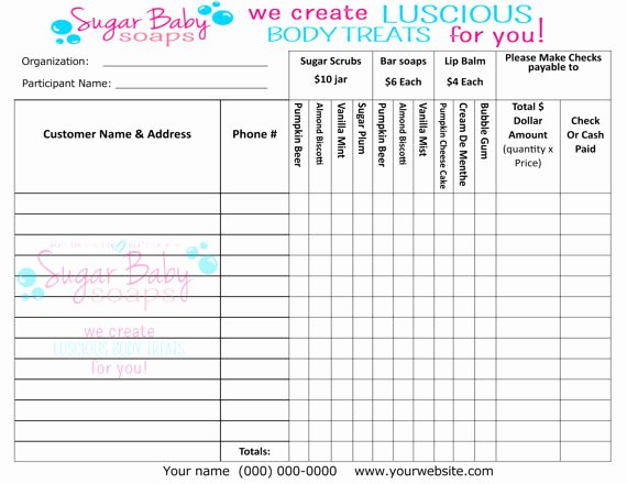 customized fundraiser order form digital