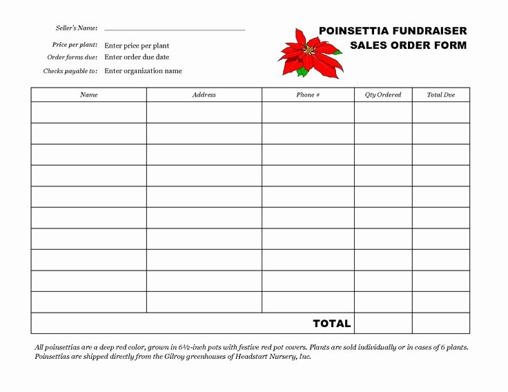 Fundraiser order form Template Free New Free Fundraiser order form Template