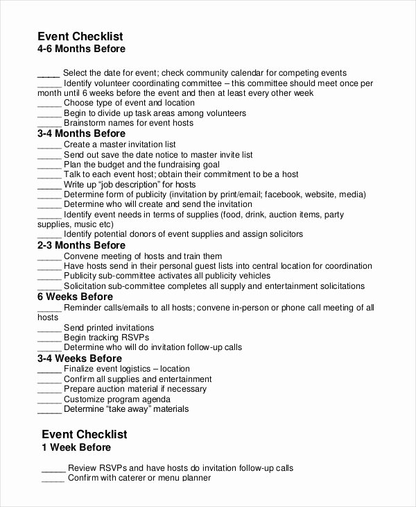 Fundraising Plan Template Excel Elegant event Planning Checklist 16 Free Word Pdf Documents