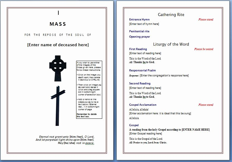 Funeral Mass Program Template Inspirational Free Funeral Program Template – Word Templates for Free