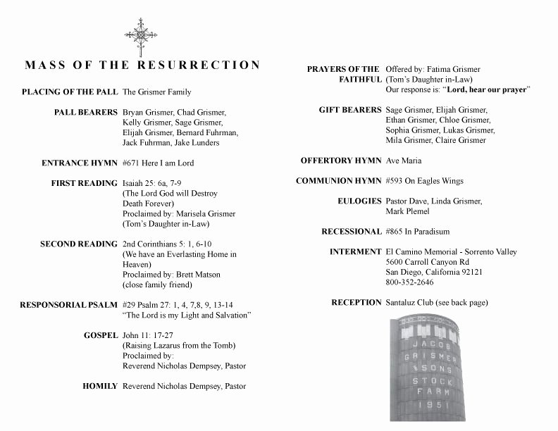 Funeral Mass Program Template Lovely 27 Of Catholic Funeral Mass Program Template
