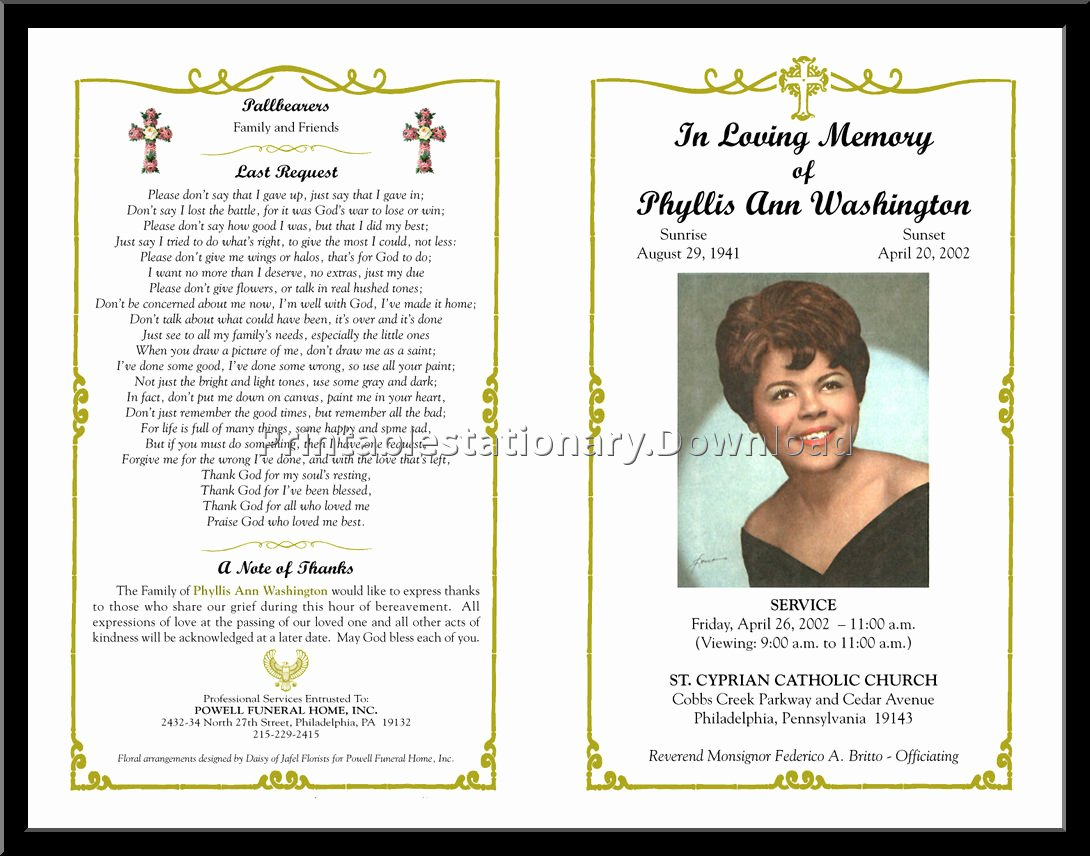 Funeral Mass Program Template Lovely Free Editable Funeral Templates