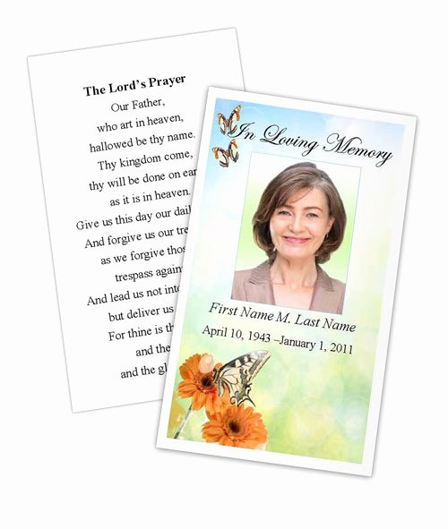 Funeral Memorial Card Template Awesome Beautiful butterfly Memorial Prayer Card Template
