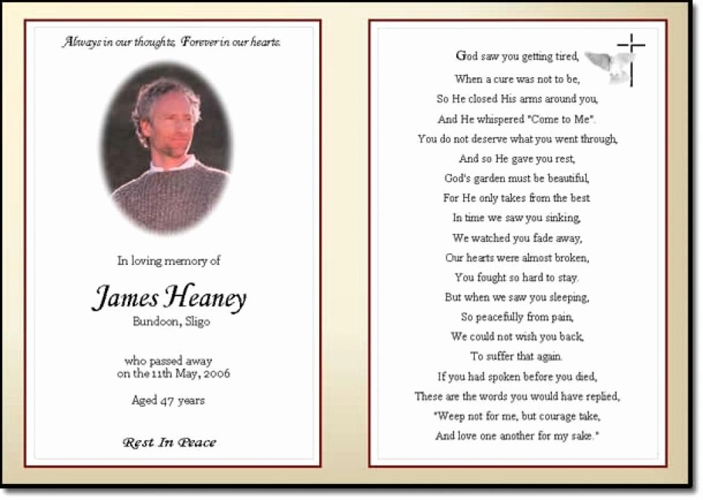 Funeral Memorial Card Template Awesome Business Card Word Template Funeral Prayer Card Template