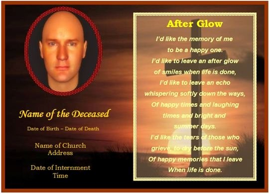 Funeral Memorial Card Template Awesome Memorial Card Template Free