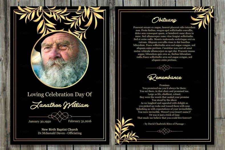 Funeral Memorial Card Template Beautiful 17 Funeral Memorial Card Designs & Templates Psd Ai