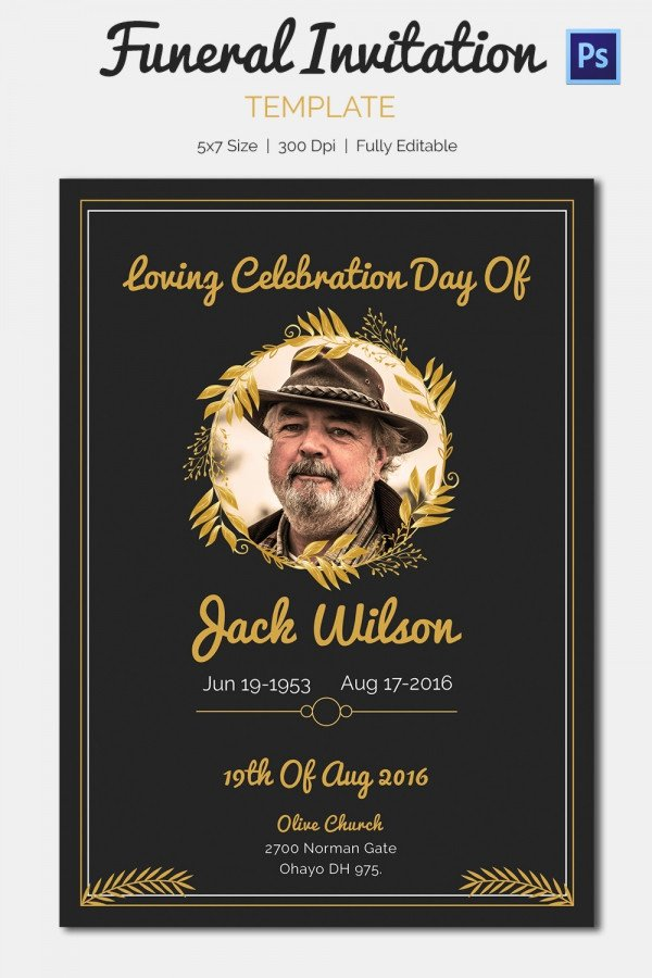 Funeral Memorial Card Template Best Of 15 Funeral Invitation Templates – Free Sample Example