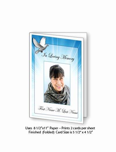 Funeral Memorial Card Template Elegant Celestial Dove Funeral Card Template Elegant Memorials