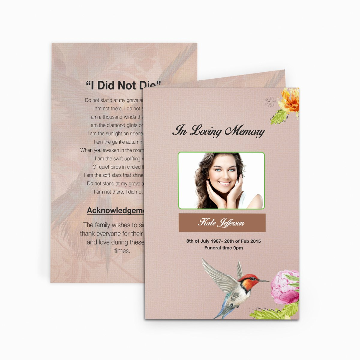 Funeral Memorial Card Template Elegant Hummingbird Funeral Card