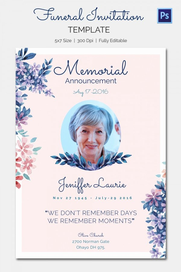 Funeral Memorial Card Template Lovely 15 Funeral Invitation Templates – Free Sample Example