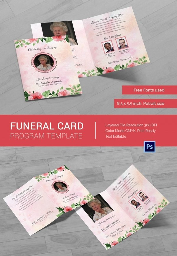 Funeral Memorial Card Template Luxury 21 Obituary Card Templates – Free Printable Word Excel
