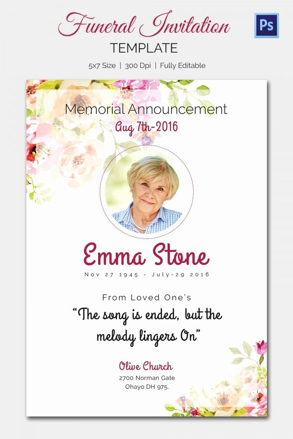 Funeral Memorial Card Template Luxury Funeral Invitation Template – 12 Free Psd Vector Eps Ai