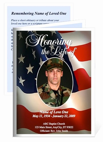 Funeral Memorial Card Template New Us Flag Small Folded Funeral Card Template the Funeral