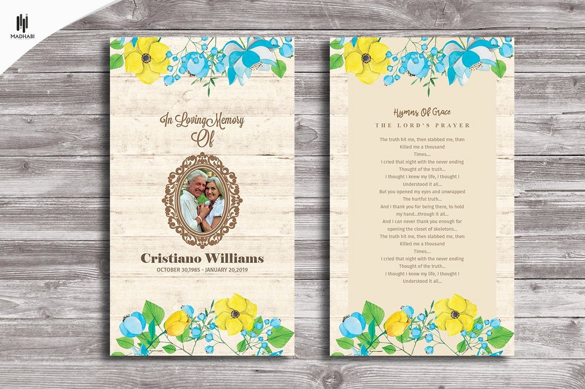 Funeral Memorial Card Template Unique Funeral Prayer Card Funeral Program Template Memorial