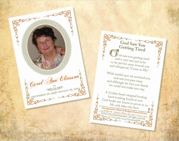 Funeral Prayer Card Template Free Best Of Memorial Cards for Funeral Template Free