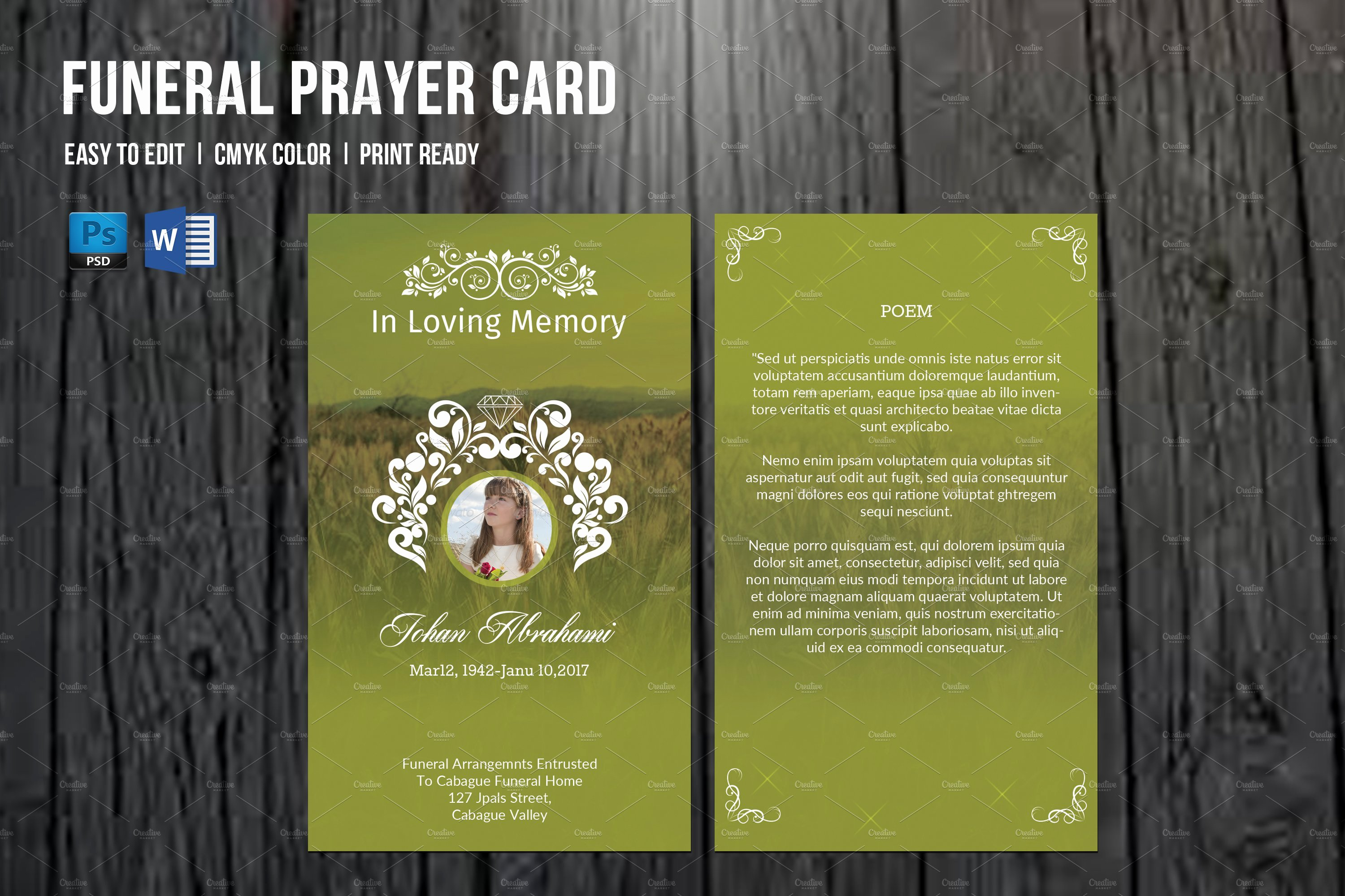 Funeral Prayer Card Template Free Elegant Funeral Prayer Card Template V660 Card Templates