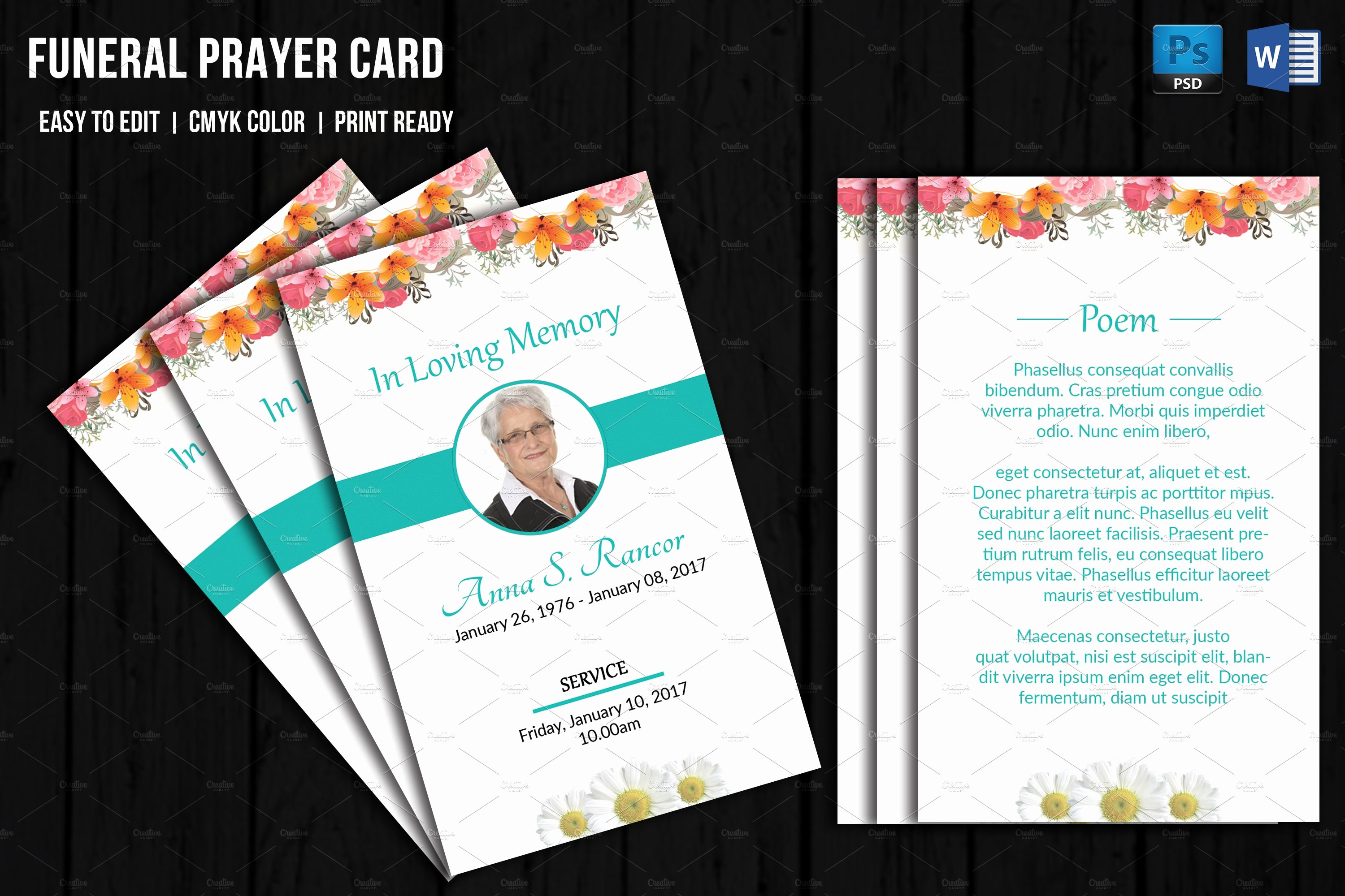 Funeral Prayer Card Template V656
