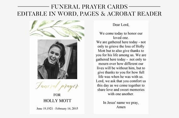 Funeral Prayer Card Template Free Inspirational Funeral Prayer Cards Printable Funeral Cards Memorial