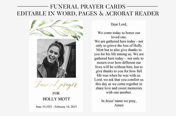 Funeral Prayer Card Template Free Inspirational Funeral Prayer Cards Printable Funeral Cards Memorial