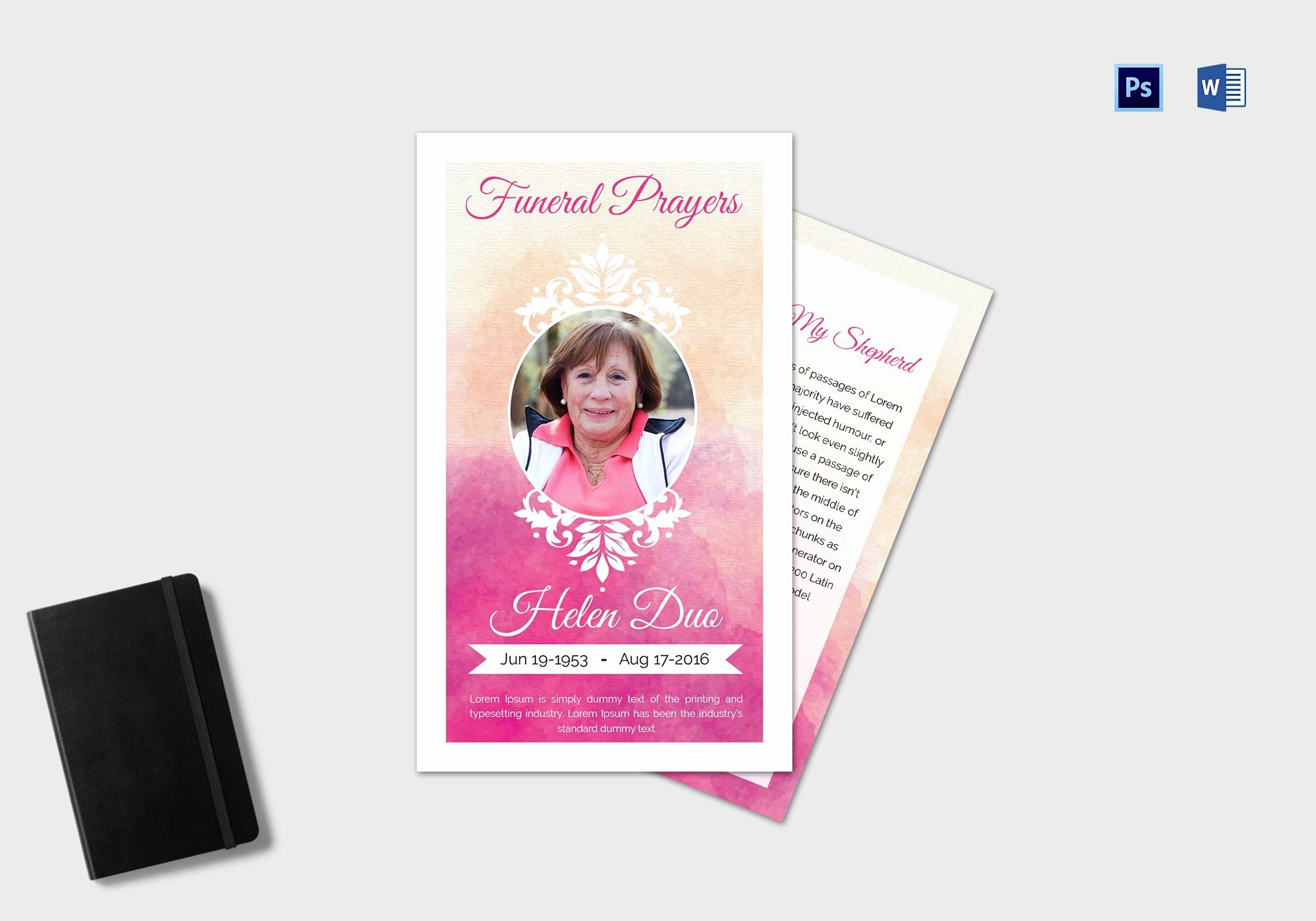 Funeral Prayer Card Template Free Lovely Funeral Prayer Card Template for Grandmother In Adobe