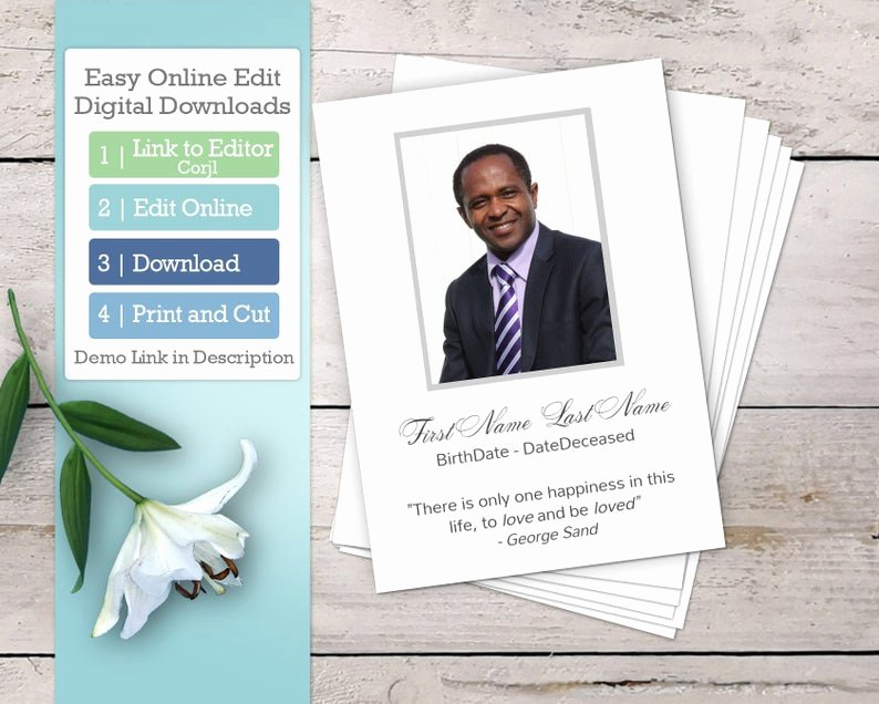 Funeral Prayer Card Template Free Lovely Modern Funeral Prayer Card Template and Memorial Card or