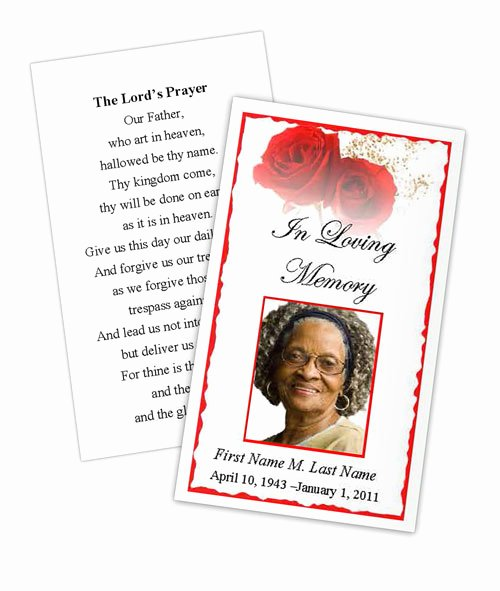Funeral Prayer Card Template Free Lovely Red Rose Memorial Prayer Card Template Elegant Memorials