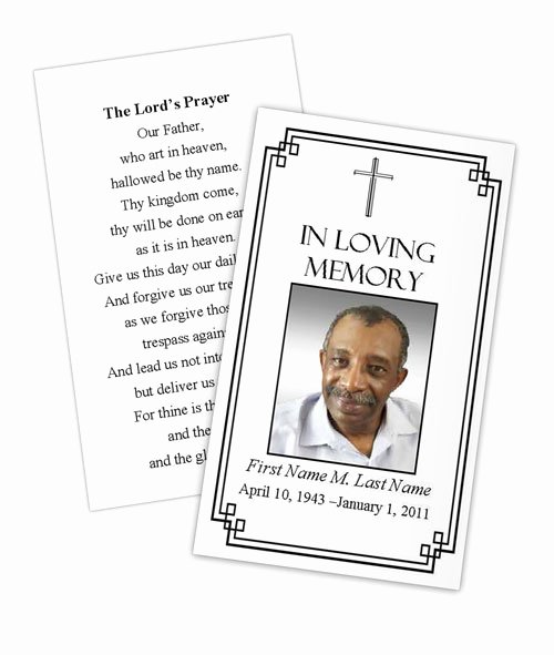 Funeral Prayer Card Template Free New Classic Cross Memorial Prayer Card Template Elegant