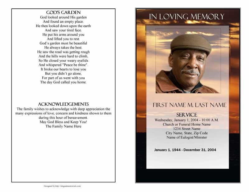 Funeral Program Template Microsoft Word Awesome Funeral Program Template