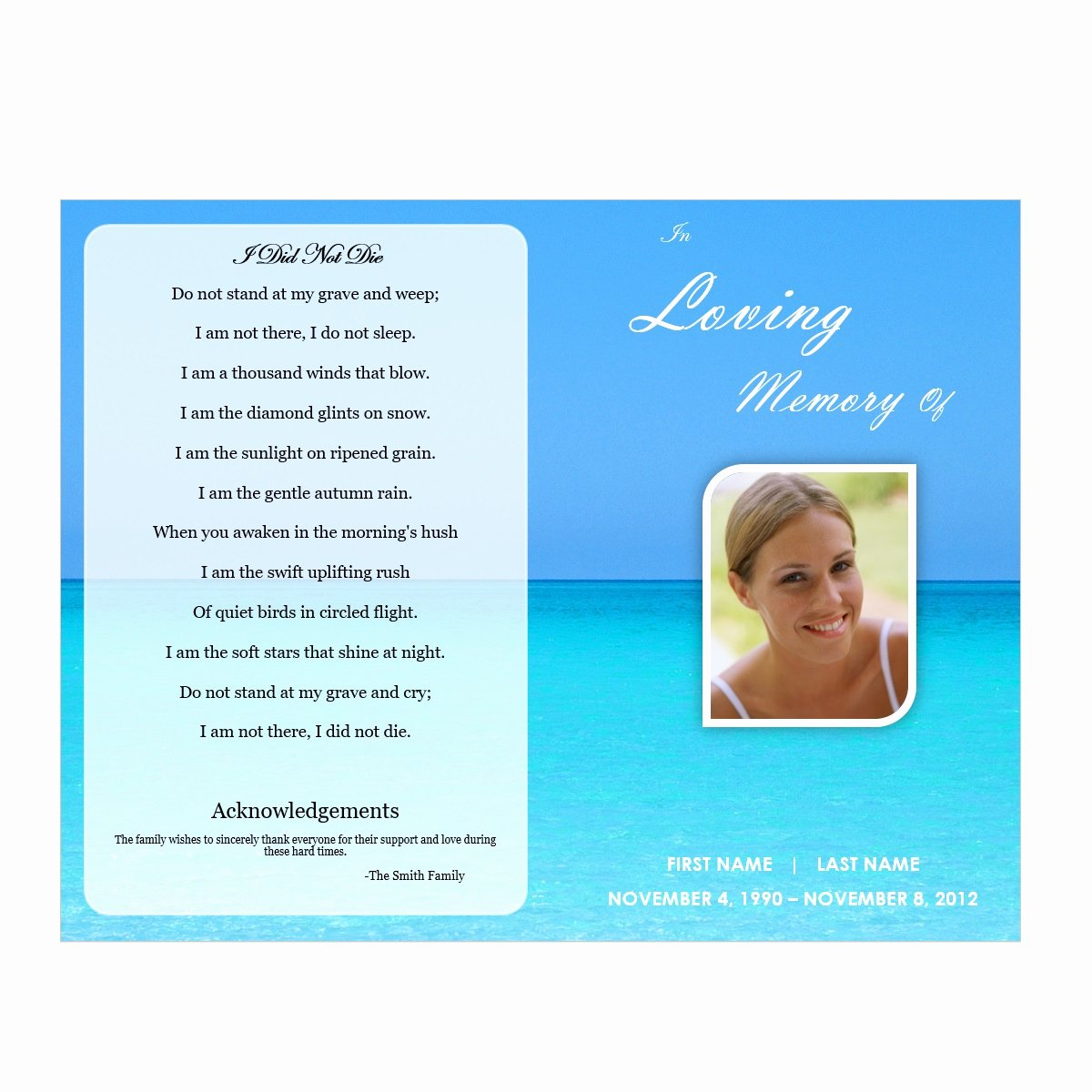 Funeral Program Template Microsoft Word Awesome Waterscape 5 Funeral Pamphlets