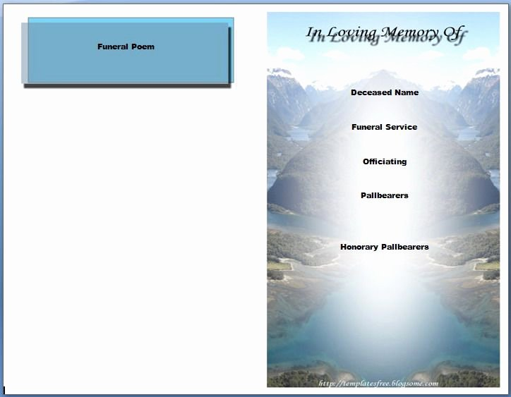 Funeral Program Template Microsoft Word Beautiful Free Funeral Program Templates