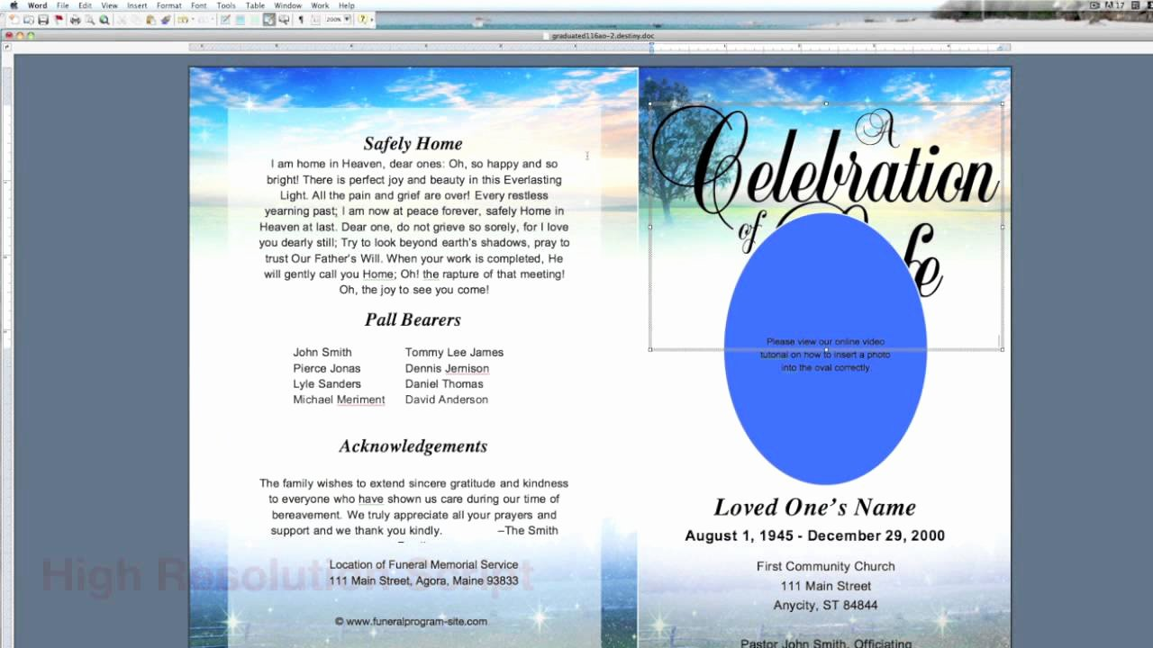 Funeral Program Template Microsoft Word Elegant Program Word Template Free software Thailandfiles