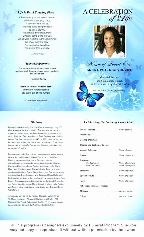 Funeral Program Template Microsoft Word Inspirational butterfly Memorial Program Memorials Pinterest