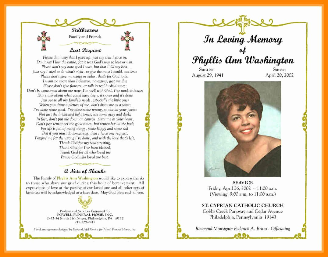 Funeral Program Template Microsoft Word New 36 Lovely Free Obituary Program Template Download