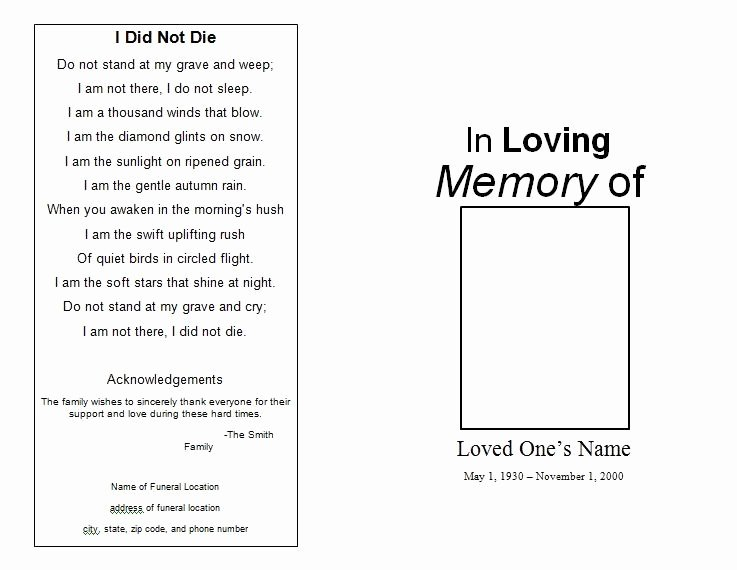 Funeral Program Template Microsoft Word New the Funeral Memorial Program Blog Free Funeral Program