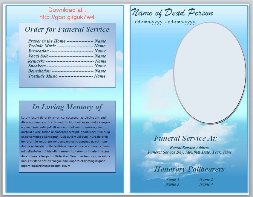 Funeral Program Template Microsoft Word Unique Free Funeral Pamphlet Template Knowledge