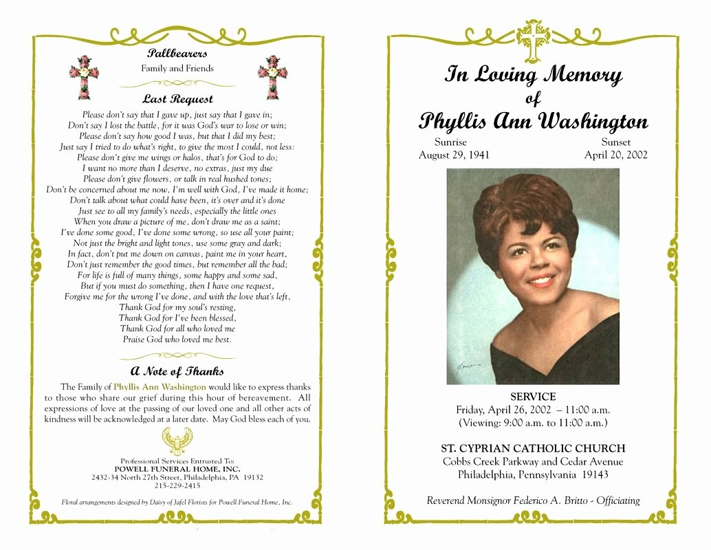 Funeral Program Templates Free Beautiful Pin On Mamas Words