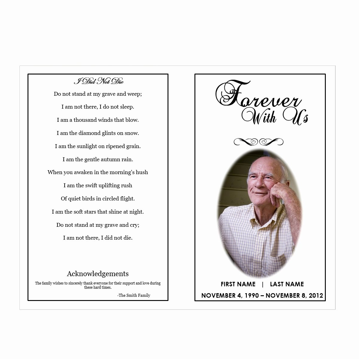 Funeral Program Templates Free Elegant forever with Us Funeral Pamphlets