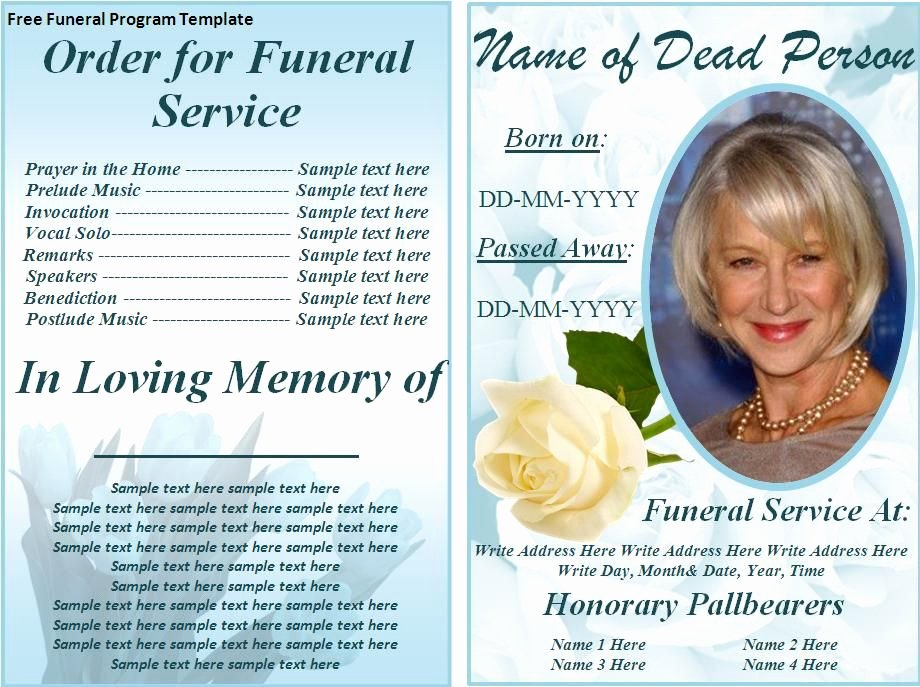 Funeral Program Templates Free Inspirational Free Funeral Program Templates