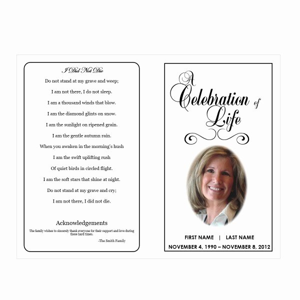 Funeral Program Templates Free New Celebration Of Life Funeral Pamphlets