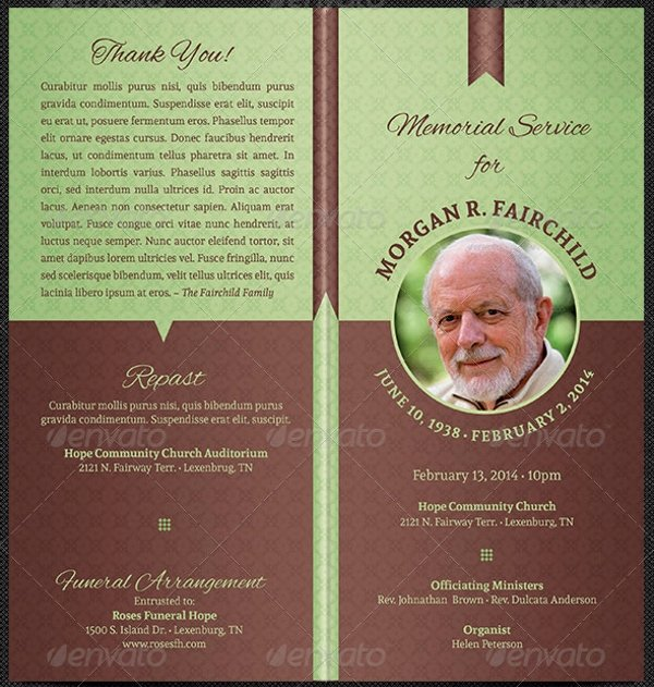 Funeral Program Templates Free Unique 17 Funeral Program Templates