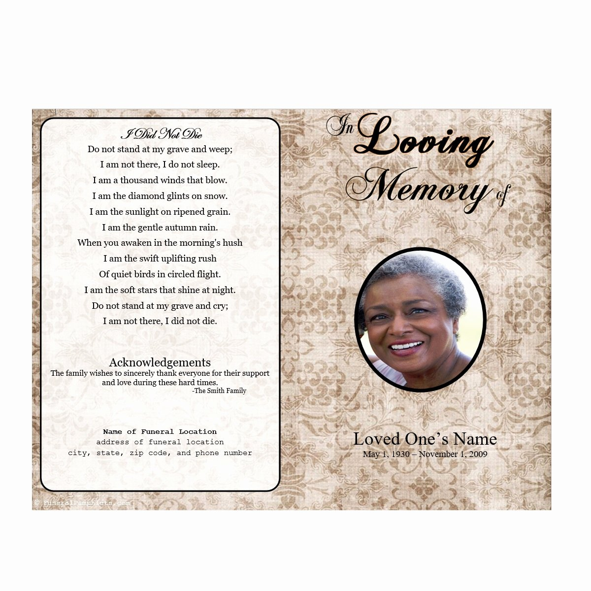Funeral Program Templates Free Unique Floral Designs Single Fold Memorial Program
