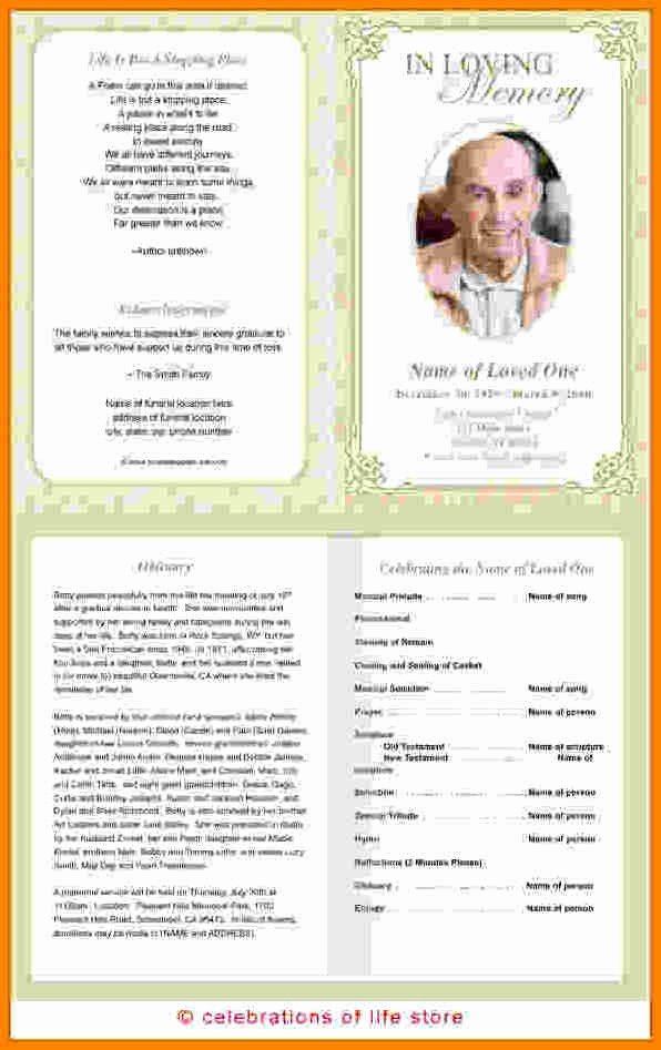 Funeral Program Templates Free Unique Free Memorial Program Template Pics – 12 Free Funeral