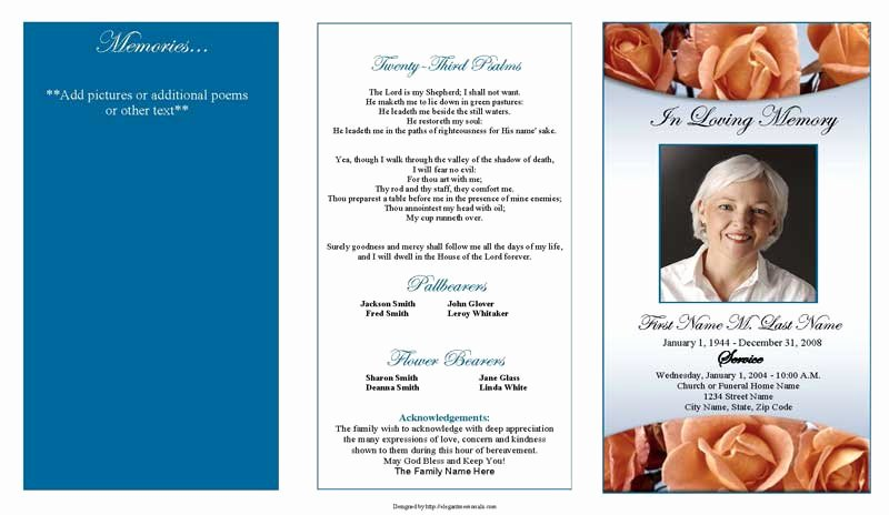 Funeral Program Templates Free Unique Memorial Roses Trifold Funeral Program Template Elegant
