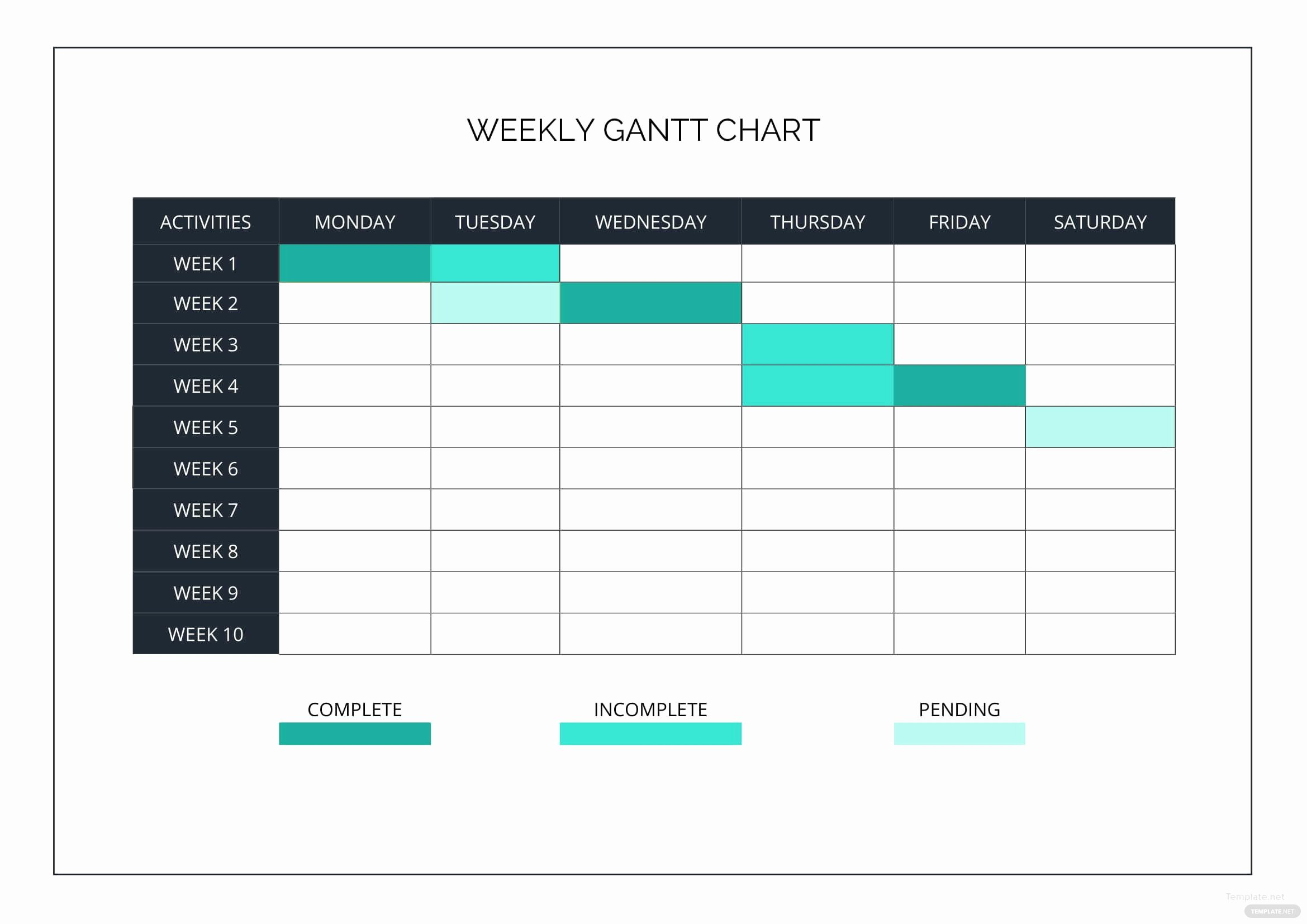 Gantt Chart Template Word Lovely Weekly Gantt Chart Template In Microsoft Word Excel