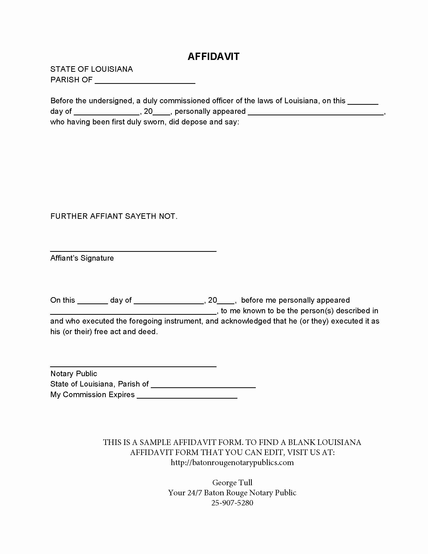 General Affidavit Template Word Best Of 38 Perfect Examples Affidavit form Templates Thogati