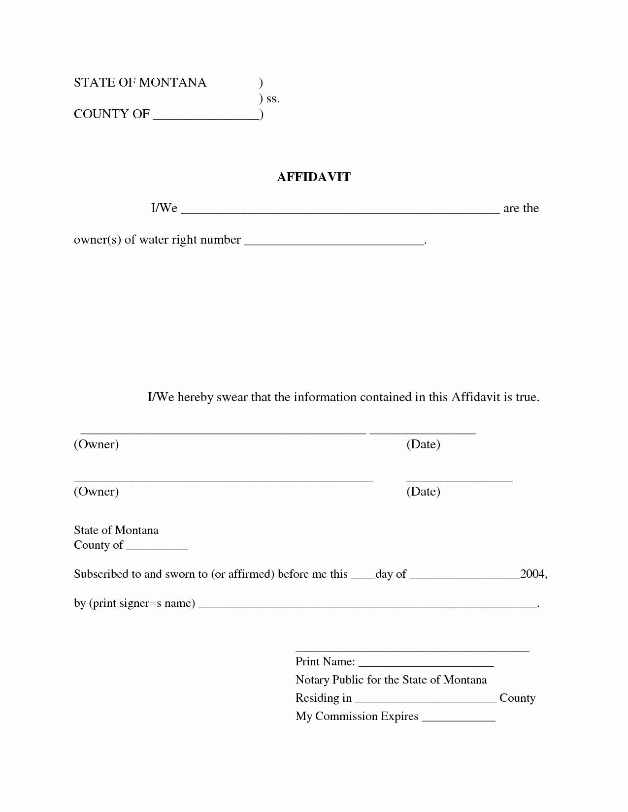 General Affidavit Template Word Elegant Free Blank Affidavit form